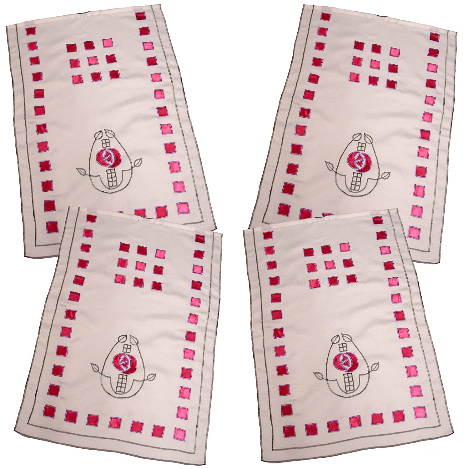 4 Charles Rennie Mackintosh Embroidered and Appliqued Chair Back Covers Antimacassar RM134 FREE UK POSTAGE GiftsScotlandCom