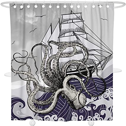 Bonsai Tree Ocean Gray Shower Curtain Octopus Sailboat Wave Bathroom Decoration Decor Waterproof And Mildew Resistant