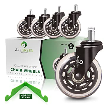 Rollerblade fice Chair Caster Wheels Replacement Set of 5 Heavy Duty Easy installation and Universal Fit