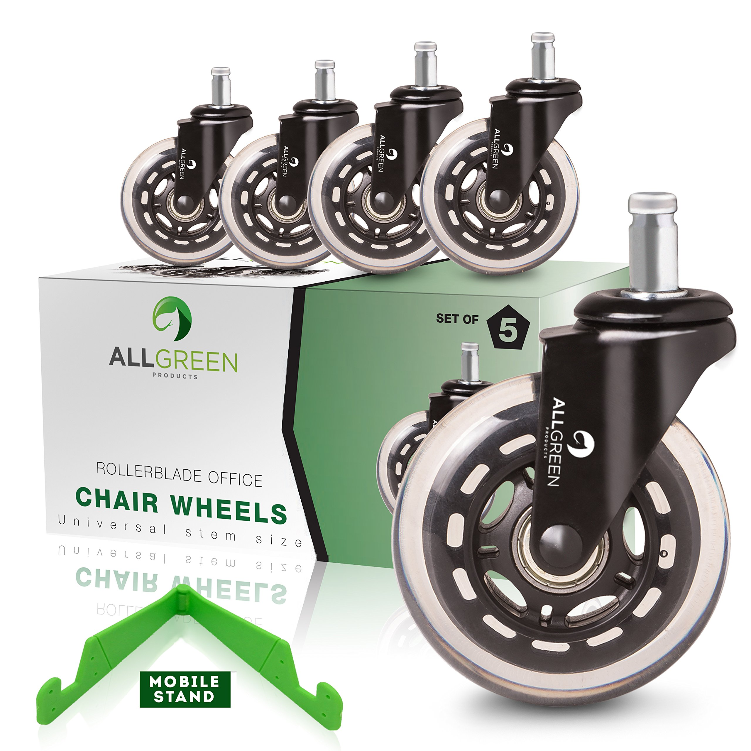 Rollerblade Office Chair Caster Wheels Replacement Set of 5 New Model 2018 Heavy Duty Easy installation and Universal Fit + FREE Mobile Stand and eBook - Silky Smooth Rolling Style Swivel by All-Green