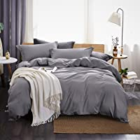 Dreaming Wapiti Duvet Cover Queen,100% Washed Microfiber 3pcs Bedding Duvet Cover Set,Solid Color - Soft and Breathable…