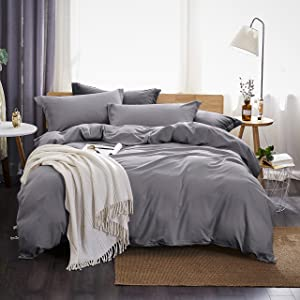 Dreaming Wapiti Duvet Cover Queen,100% Washed Microfiber 3pcs Bedding Duvet Cover Set,Solid Color - Soft and Breathablewith Zipper Closure & Corner Ties (Gray,Queen)