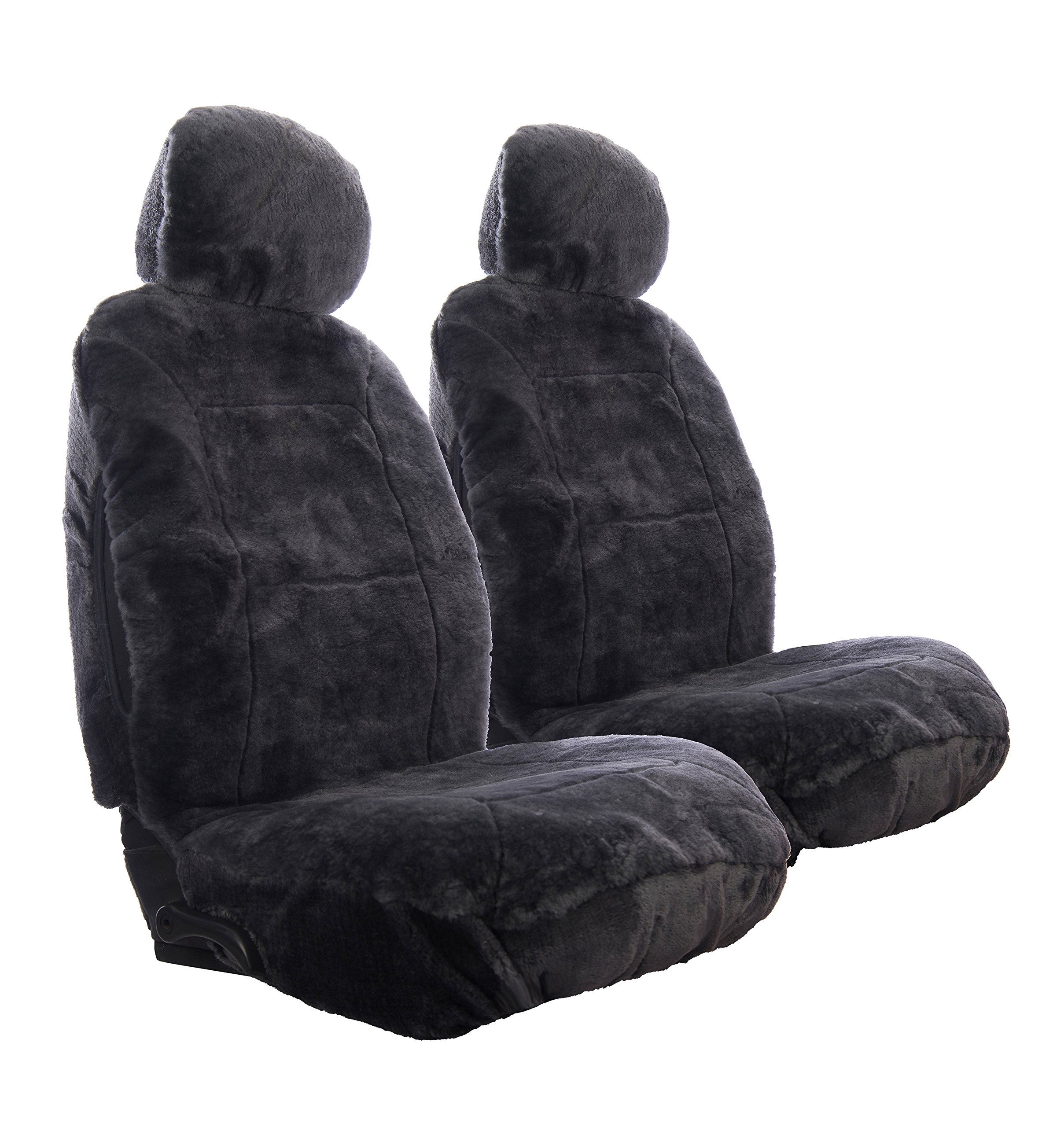 Sheepskin Car Seat Covers, Premium Set of 2, Genuine Australian Sheepskin Front, Universal Size, Back Storage Pocket, Stylish Design, Gray Color