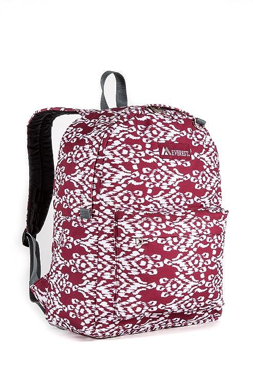 Everest Classic Pattern Backpack, Burgundy/