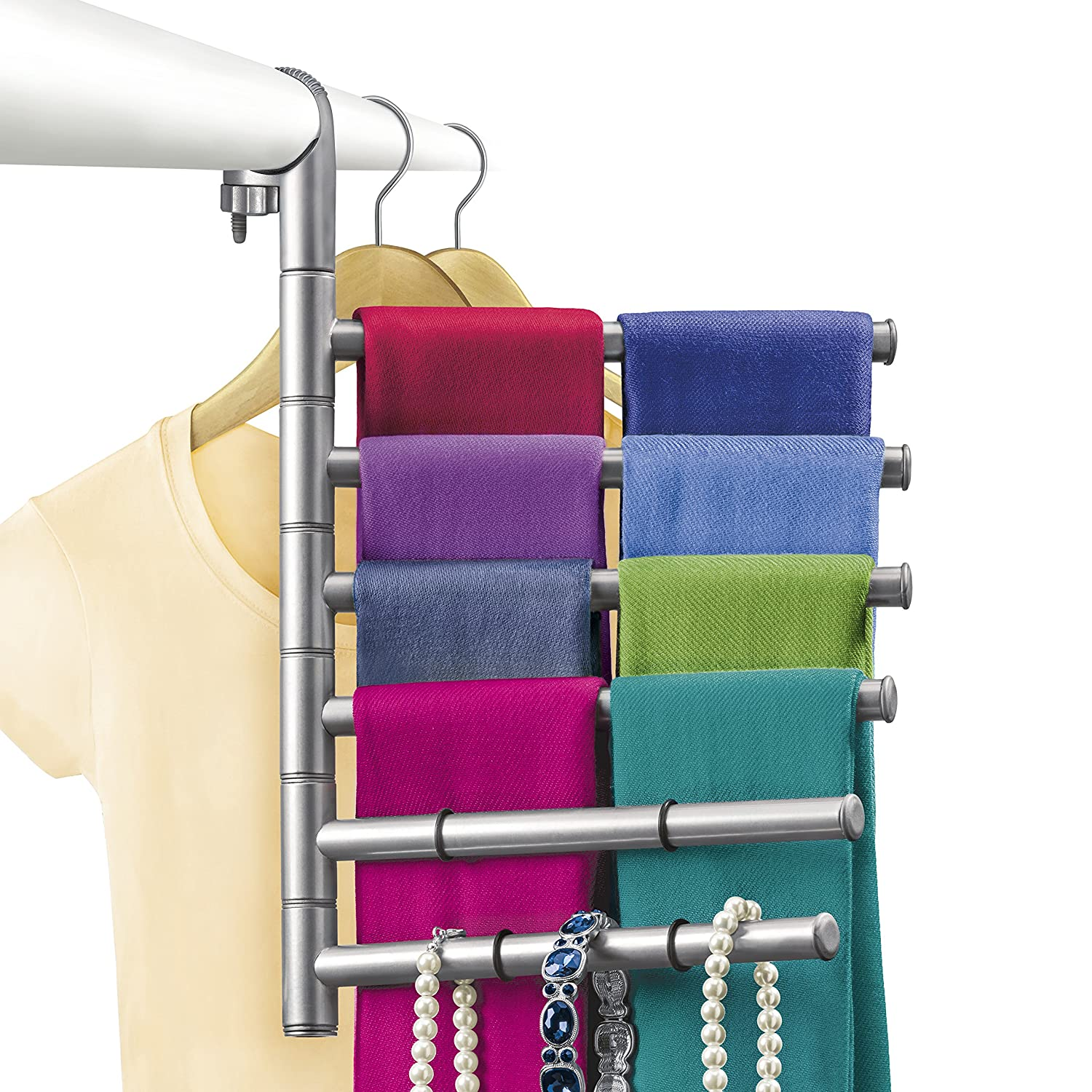 Amazon.com: Lynk Hanging Pivoting Scarf Rack and Accessory Holder - Closet Hanger  Organizer Rack - Platinum: Home & Kitchen