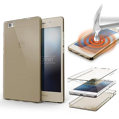 Urcover® Funda Huawei P8 Lite, Carcasa Protectora 360 Grados Silicona Gel en Transparente Full Body Protección Completa Delantera + Trasera, Huawei P8 ...