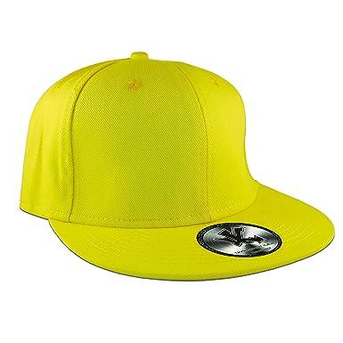 d66e536d2d1 New Plain Yellow Flat Peak Fitted Baseball Cap  Amazon.co.uk  Clothing