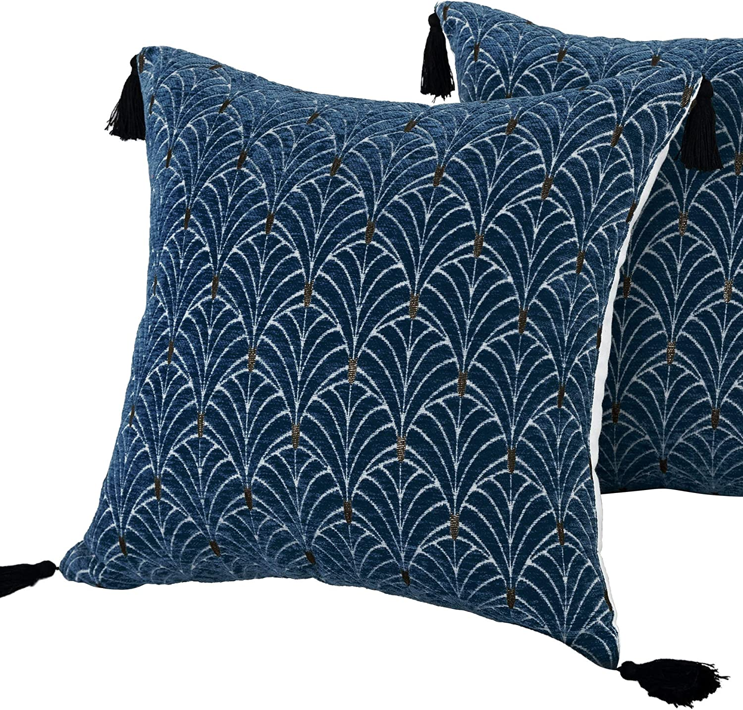 Blue Pillow Cases 18x18 for Living Room Set 2 Pack Cushion Japanese Decorative Floral Fan Pattern Graphic Cotton Chenille Tassel Geometric Throw Pillow Covers for Couch Christmas 18 Indigo Navy White
