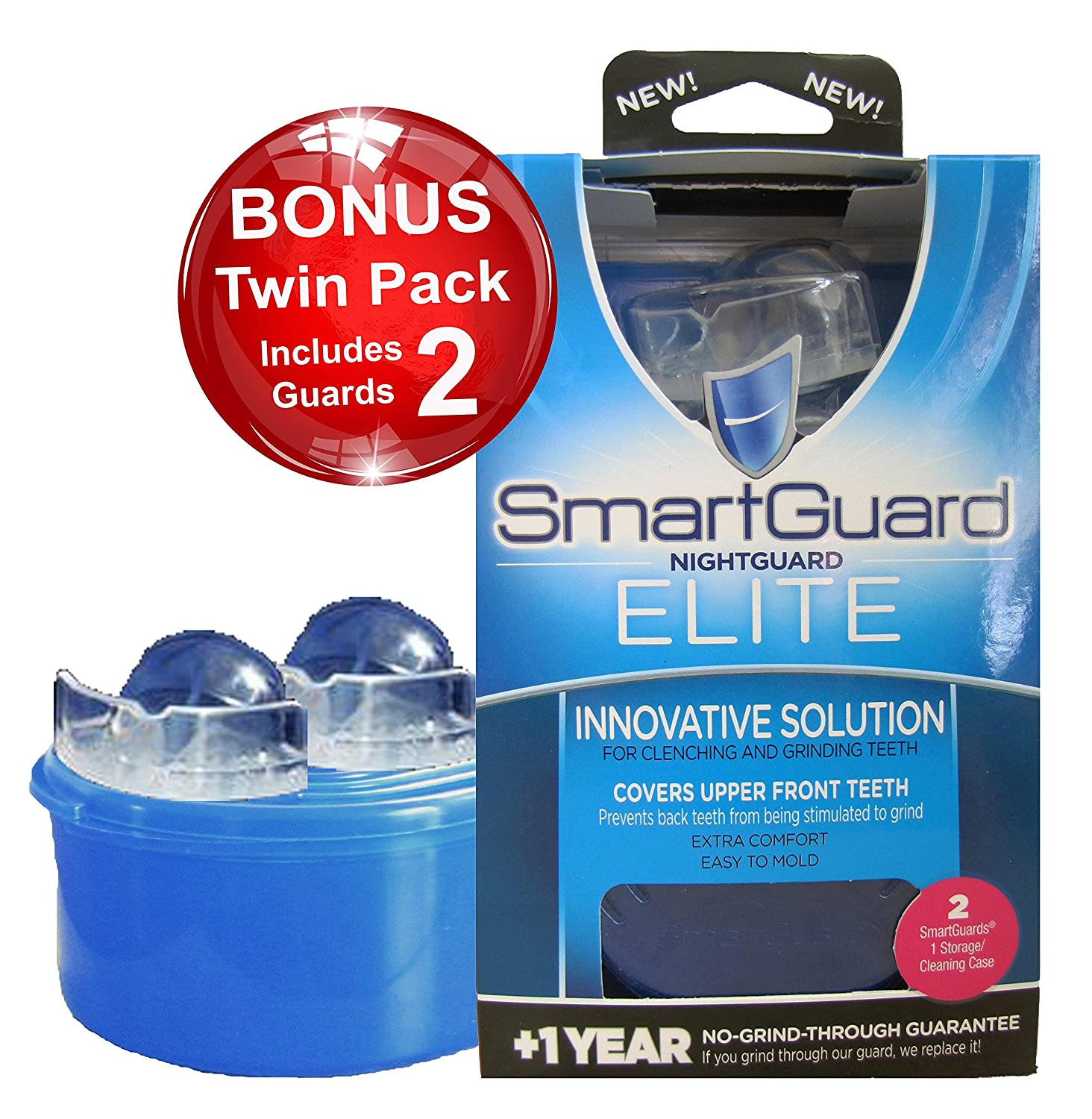 SmartGuard Elite Night Guard (2 Guards & 1 Cleaning Case) for Clenching & Grinding Teeth (Bruxism), Dentist's Choice, Covers Upper Front Teeth, Personal Comfort Fit Dentist's Choice SmartGuard Inc. Dentist's Choice 1