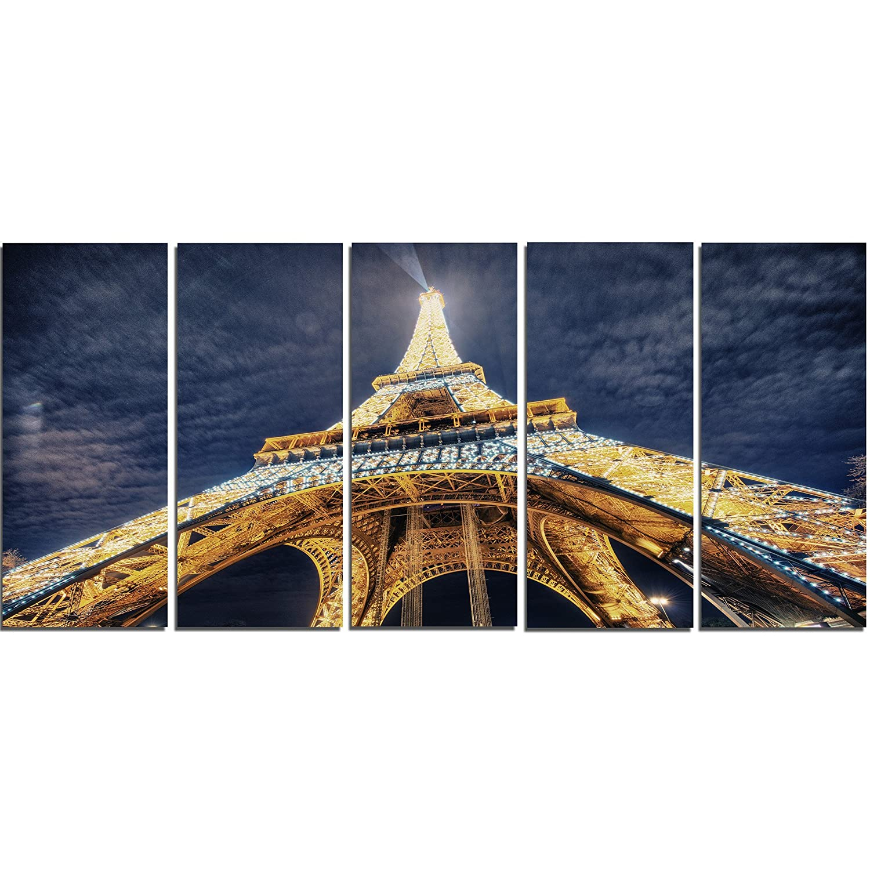 28 H/x/60 W/x/1 D 5PE Designart Lit-up Eiffel Tower View-Cityscape Photo Metal Wall Art-MT8304-60x28-5 Panels