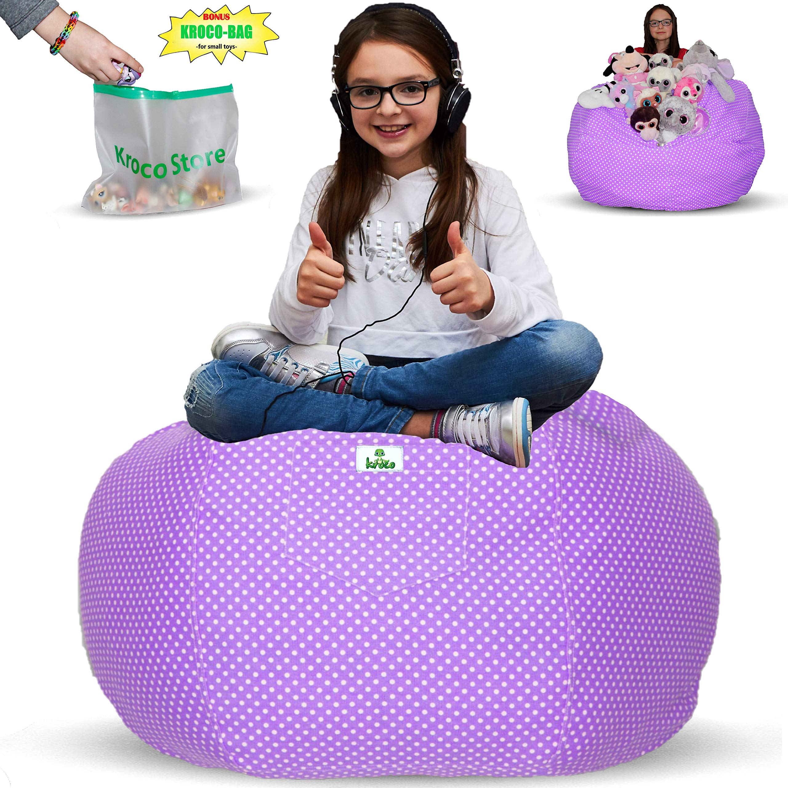Kroco Stuffed Animal Storage Bean Bag Cover - Toy Storage Beanbag for Kids Room - Stuff Storage Bag - Stuffable Bean Bag - Replace Mesh Toy Hammock Net - Store Blankets/Pillows Too - 38´´ Purple by Kroco