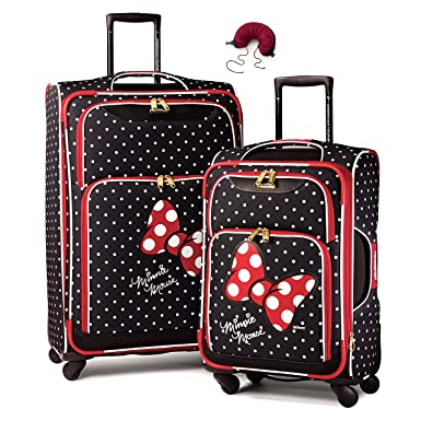 American Tourister Disney Softside Spinner 2 piece Luggage set 21 and 28 and Travel Pillow (One Size, Minnie Mouse Red Bow)
