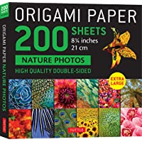 """Origami Paper 200 sheets Nature Photos 8 1/4"""" (21 cm): High Quality Double-Sided Origami Sheets Printed with 12…"""