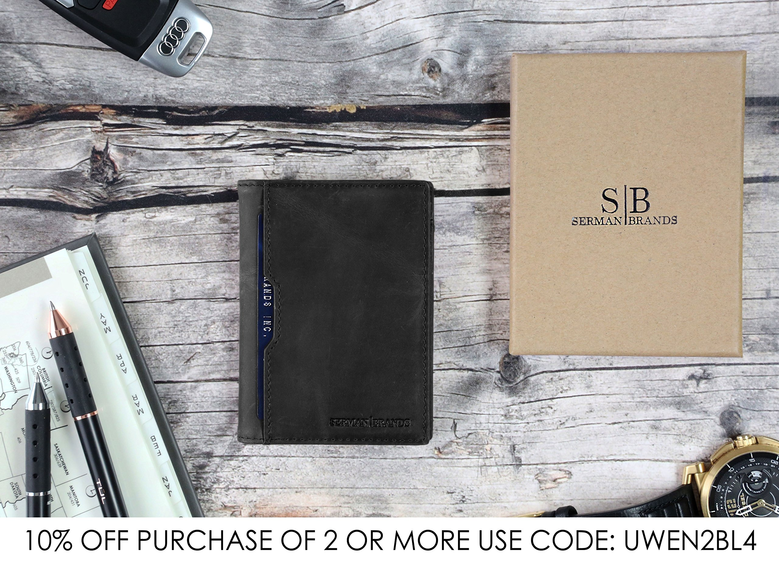 Wallets for Men Slim Mens leather RFID Blocking Minimalist Card Front Pocket Bifold Travel Thin (Charcoal Black 5.0) by SERMAN BRANDS (Image #5)