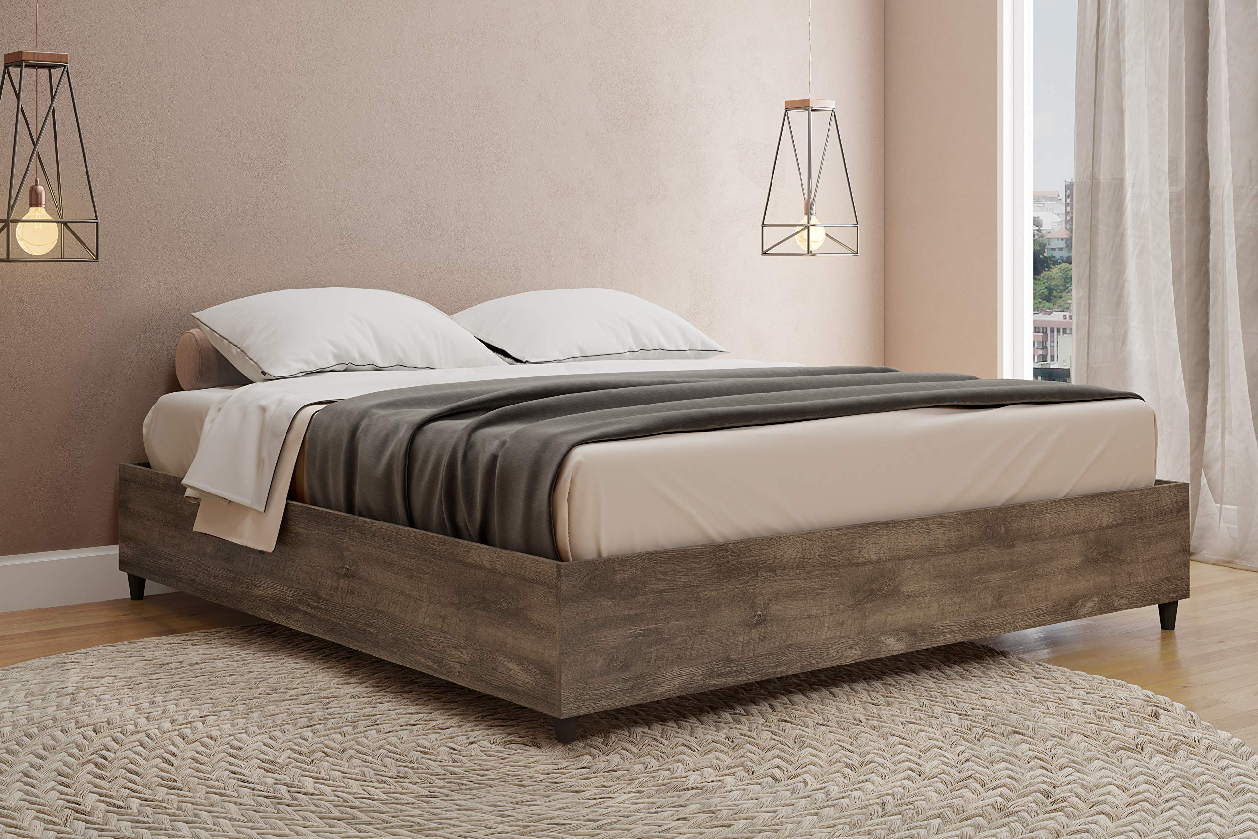 Midtown Concept King Platform | Wood Slat Support |Distressed Brown Bed, by Midtown Concept