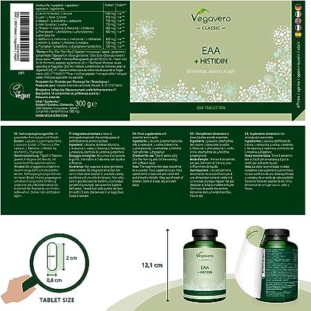 Aminoácidos Esenciales EAA Vegavero® | Sin Aditivos Artificiales | 300 Comprimidos – No Polvo | Incluye BCAA + Histidina + Triptófano + Metionina | ...