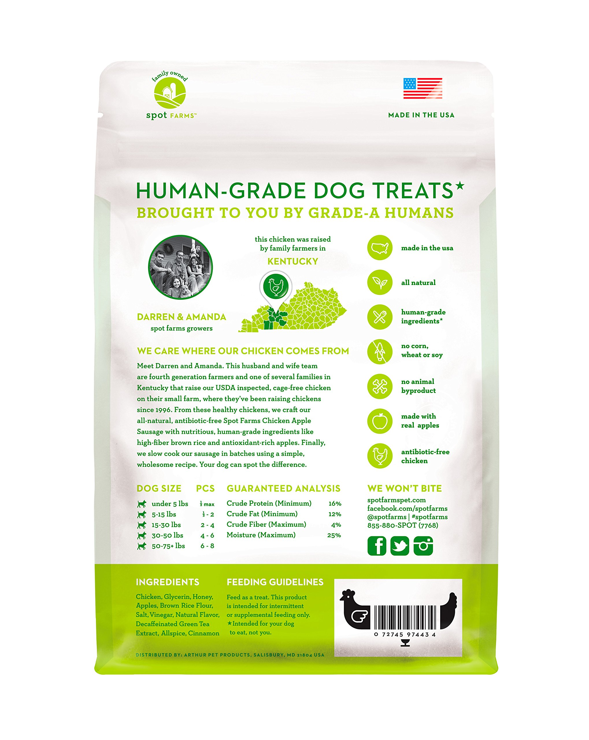 Spot Farms All Natural Human Grade Dog Treats, Chicken Apple Sausage, 12.5 Ounce by Spot Farms (Image #2)