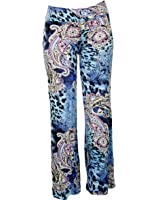 Blue Pearl World Women's Abstract Pattern Stretchy Wide Leg High Waist Pants