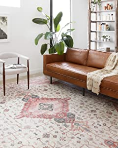 """Loloi ll Skye Collection Printed Distressed Vintage Area Rug, 2'-6"""" x 7'-6"""", Ivory/Berry"""