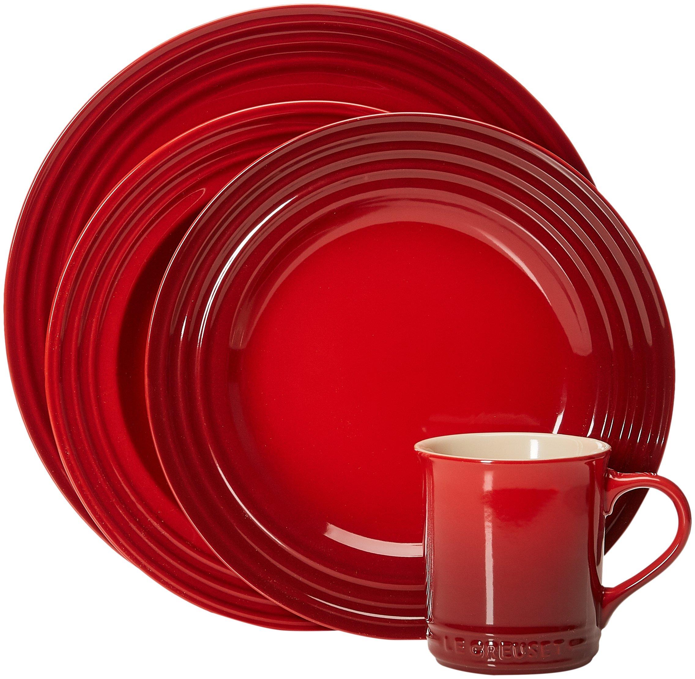 Le Creuset Stoneware 16-Piece Dinnerware Set, Cerise (Cherry Red) by Le Creuset (Image #1)