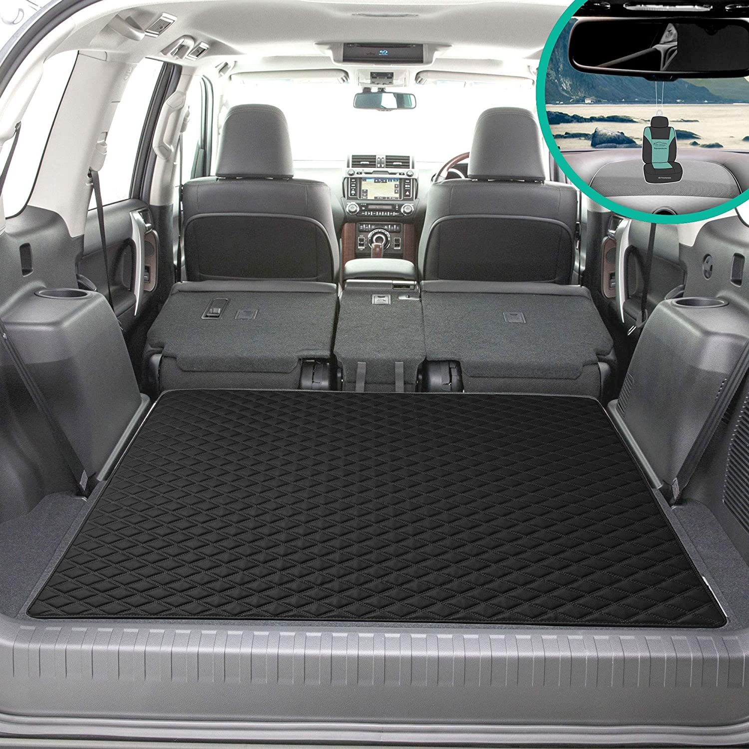 """FH Group F16501 Deluxe Heavy-Duty Faux Leather Multi-Purpose Cargo Liner, Diamond, 46"""", Black Color w. Gift- Fit Most Car, Truck, SUV, or Van"""