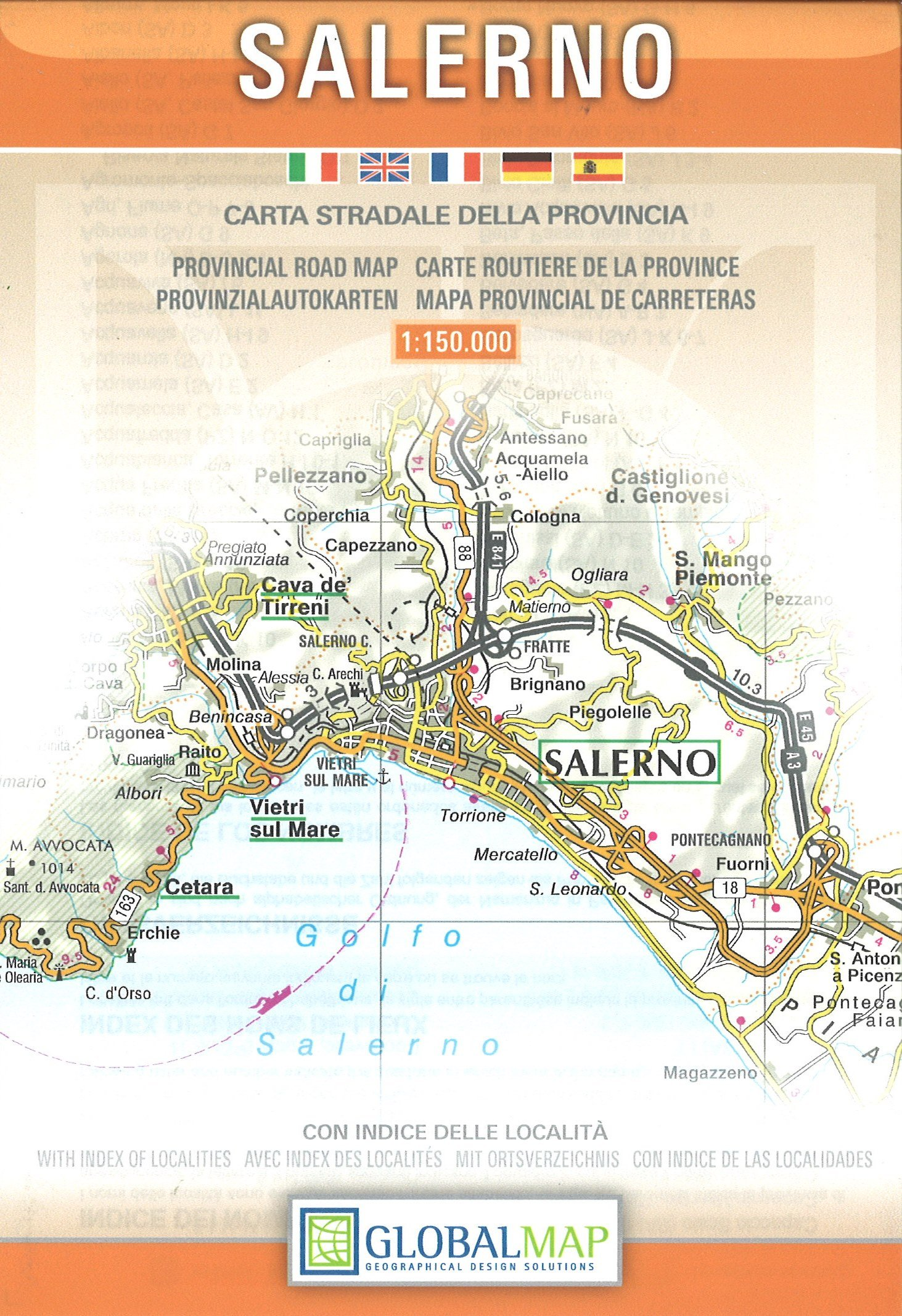 Provincial Map Of Italy.Salerno Campania Italy Provincial Road Map English Spanish