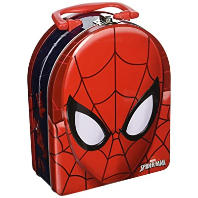 The Tin Box Company Spider-Man Head Shaped Tin Carry All with Handle: Toys & Games