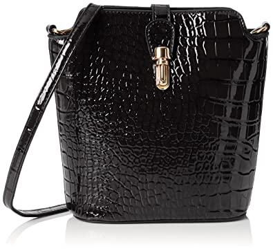defe88a50b6f SWANKYSWANS Womens Charlotte Croc Patent Leather Shoulder Bag Black  Cross-Body Bag Black