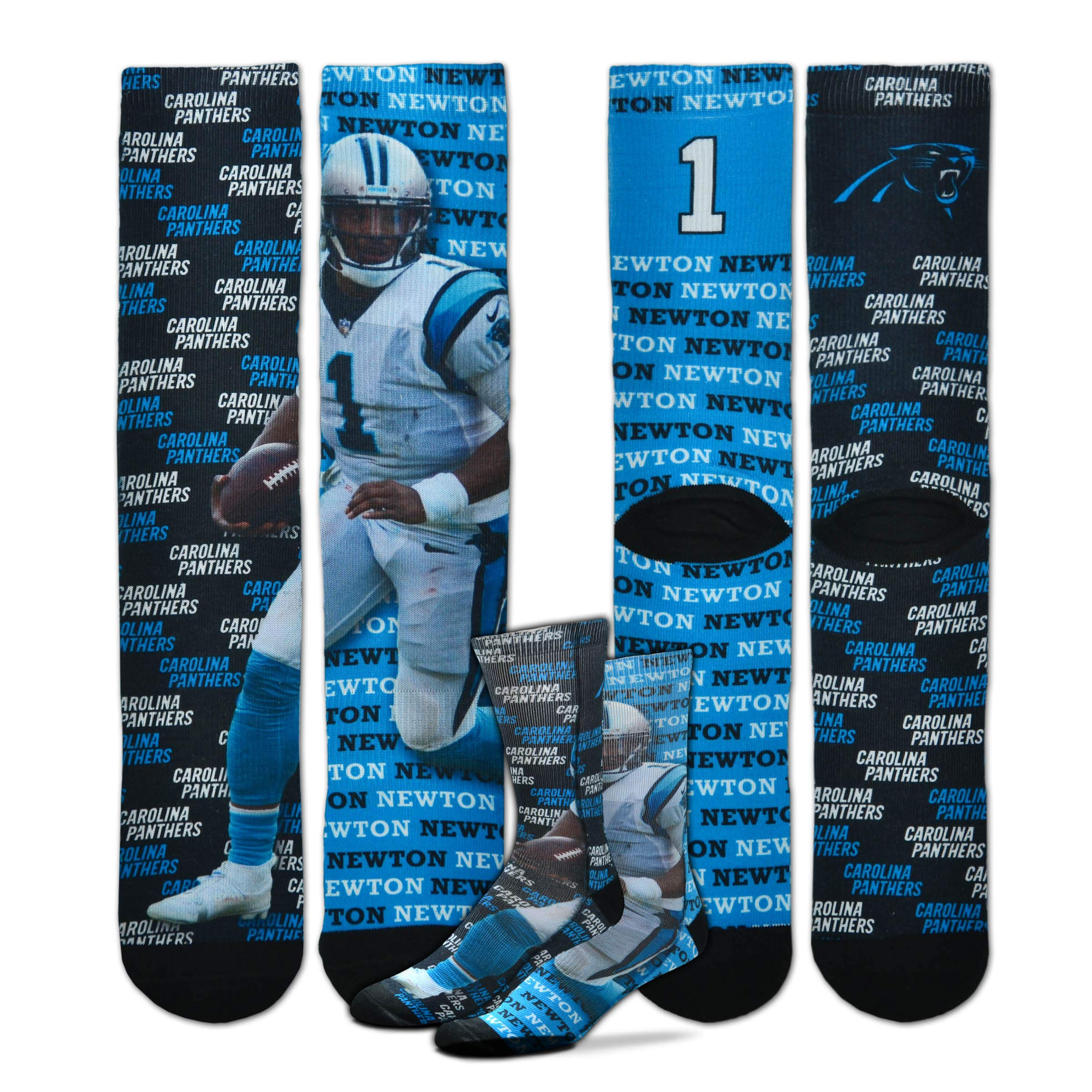 For Bare Feet - Say My Name NFL Player Sublimation Men's Crew Socks (CAM Newton, Youth (4-8 Yrs))