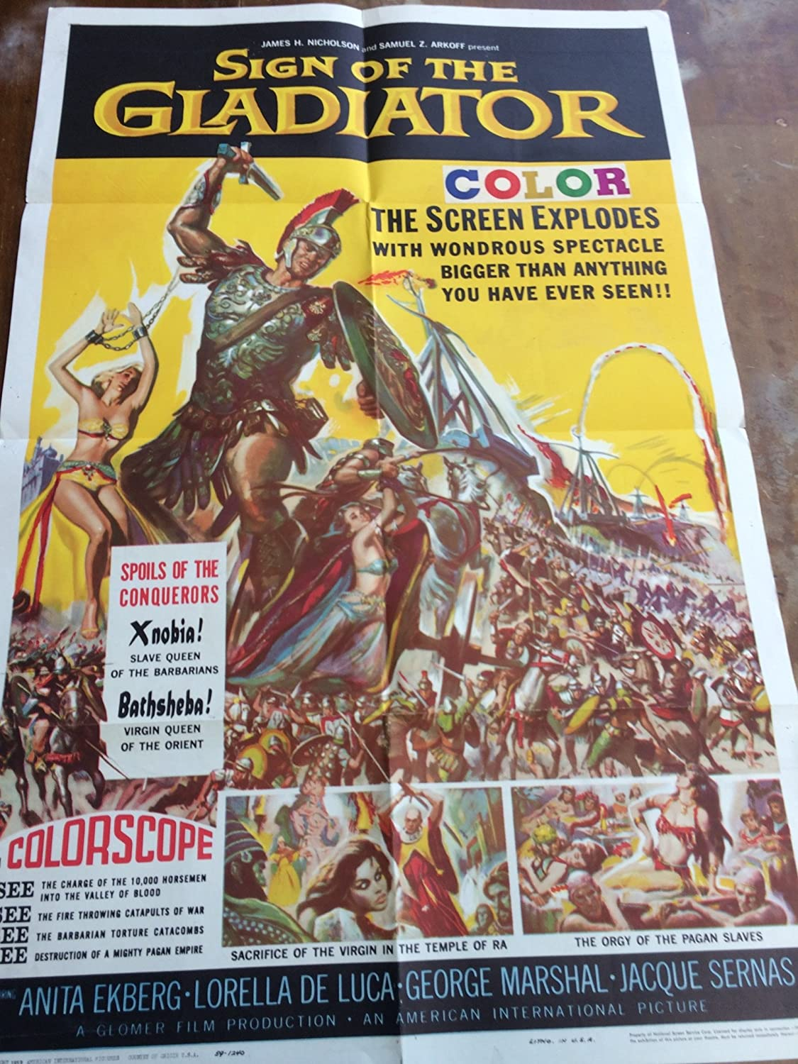 Sign of the Gladiator movie poster, 1959, bright colors