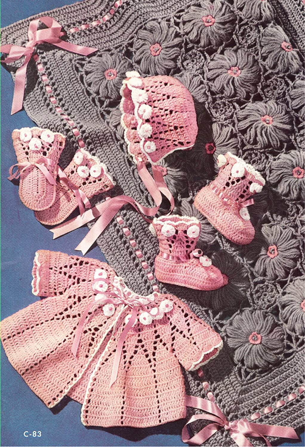 Vintage Crochet PATTERN to make - Baby Sweater Cap Booties Blanket Set. NOT a finished item, this is a pattern and/or instructions to make the item only.
