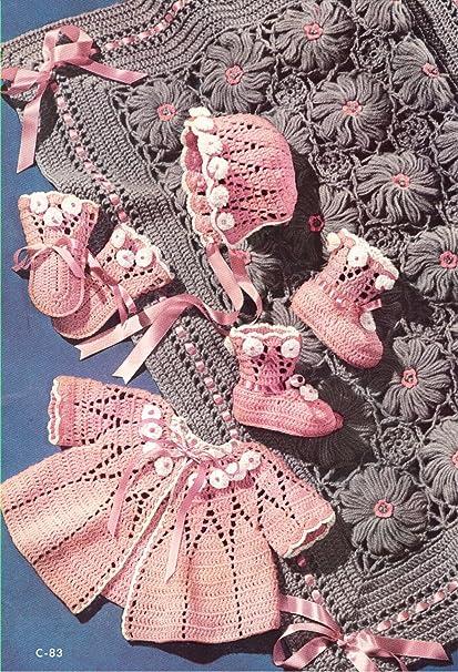 99810aea7 Amazon.com  Vintage Crochet PATTERN to make - Baby Sweater Cap ...