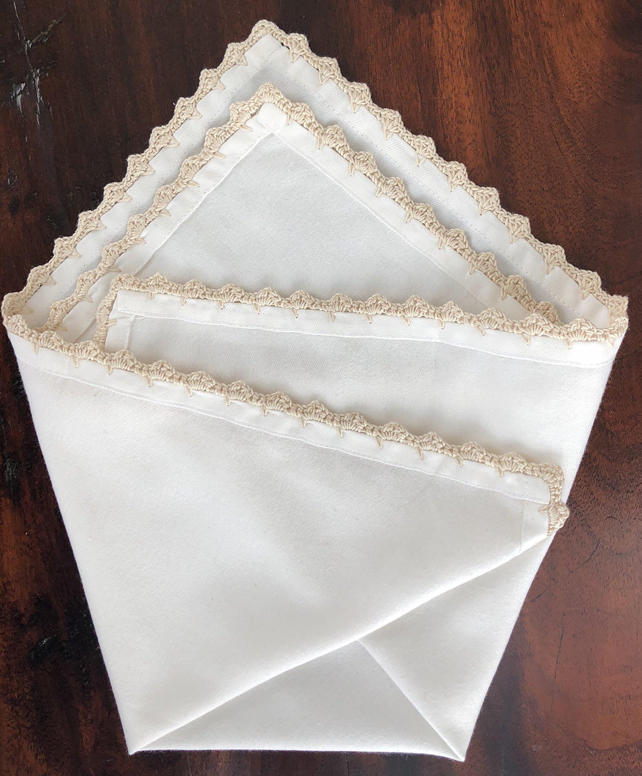 MoLi 100% Egyptian Cotton Cloth Dinner Napkins Hand Crocheted - Set of 6 Pack Lunch Linen - Elegant Decorative Fabric Handmade Table Linens - Servilletas de Tela Wedding Napkin (White) by MoLi (Image #9)