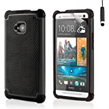 32nd Shock Proof Defender Heavy Duty Tough Shell Case Cover for HTC One (M7, 2013) - Black