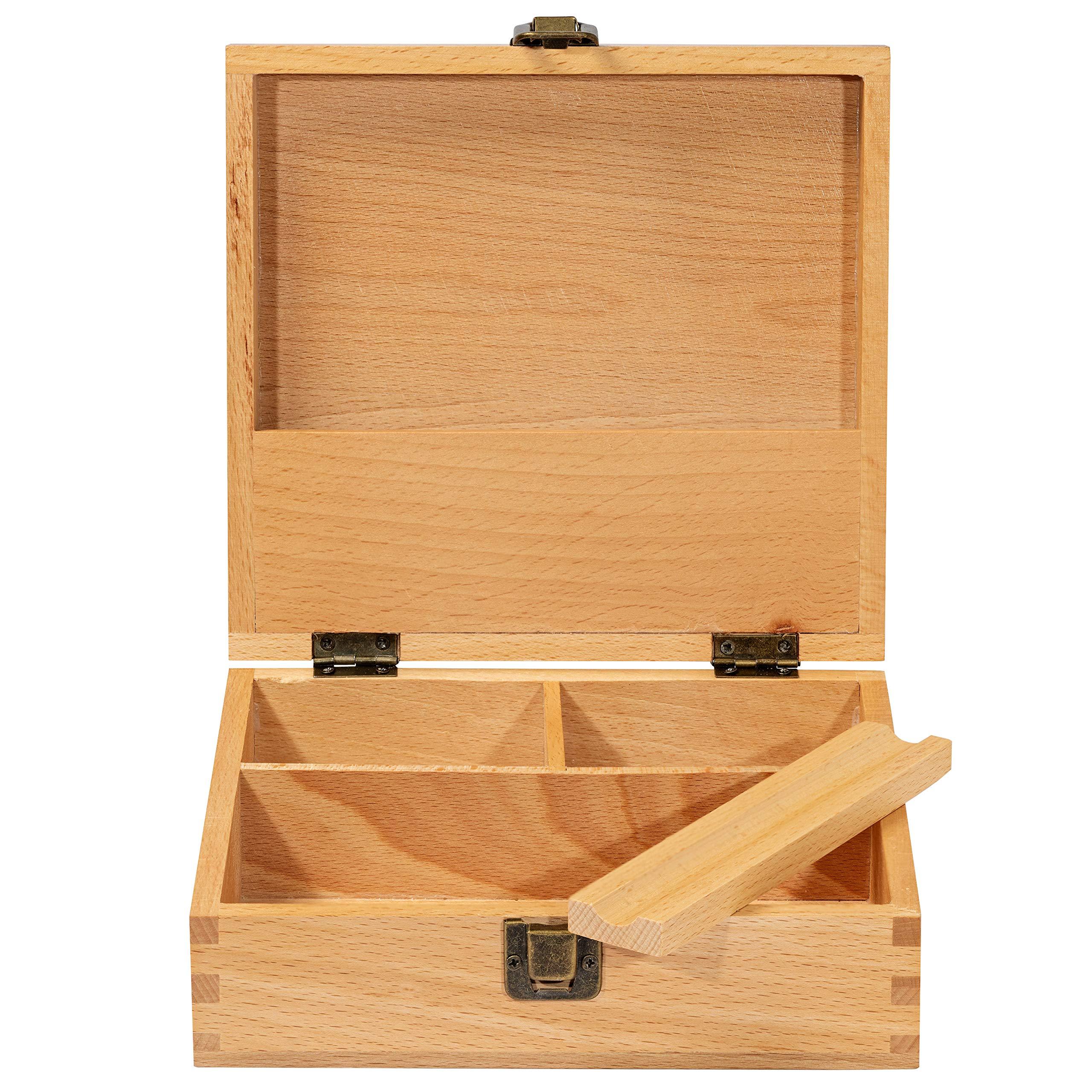 "Stash Box Large with Rolling Tray Combo– Handmade Decorative Stash Box - 7.5"" x 7"" Beech Wood Box - Storage Box"