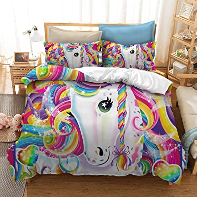 YOMIMAX Home Duvet Cover 3 Piece Full Size Rainbow Unicorn Cute Quilt Cover for Girls Children Gift Cartoon 3D Bedding Set Colorful King (2Pillow Cases): Home & Kitchen