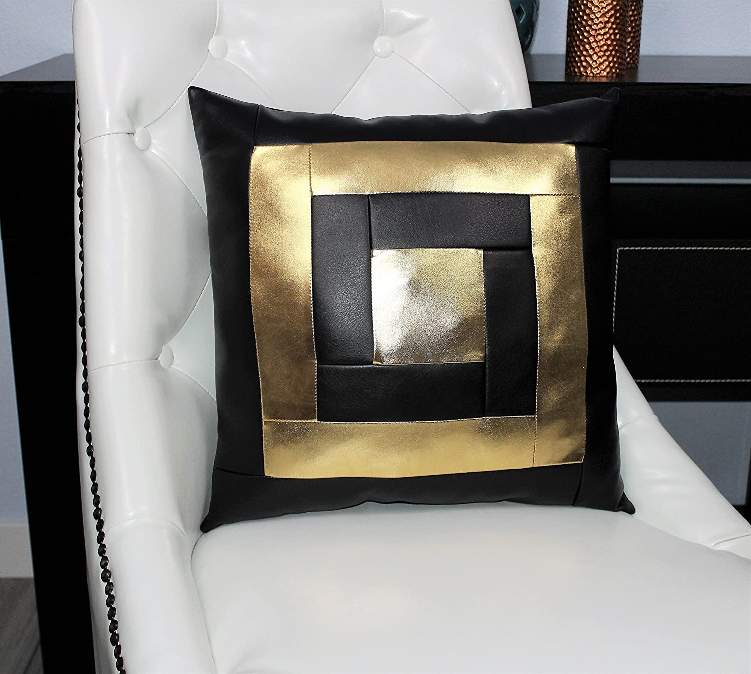 Amazon.com: Black and Gold accent decorative faux leather throw