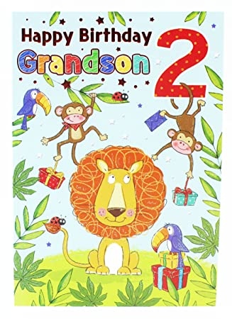 Happy 2nd Birthday Boys Greeting Cards Jungle Grandson Blue Two Luxury Age Kids Amazoncouk Office Products