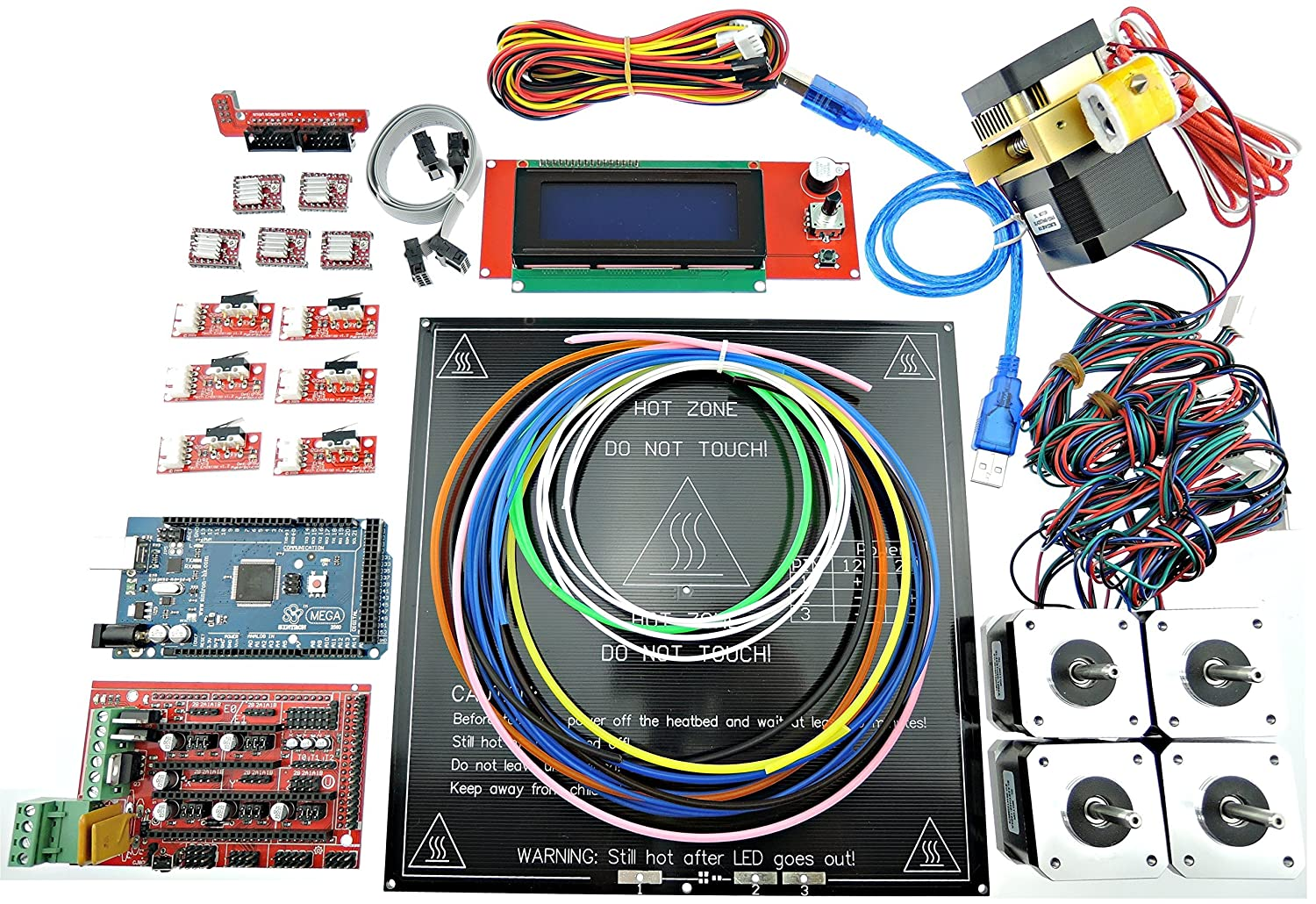 Sintron Ultimate 3d Printer Full Complete Kit For Diy Circuit Board 7 Wire 2 Fuse Pcb Printed Reprap Prusa I3 Ramps 14 Mega 2560 Mk8 Extruder Mk3 Heatbed Stepper Motor And Lcd