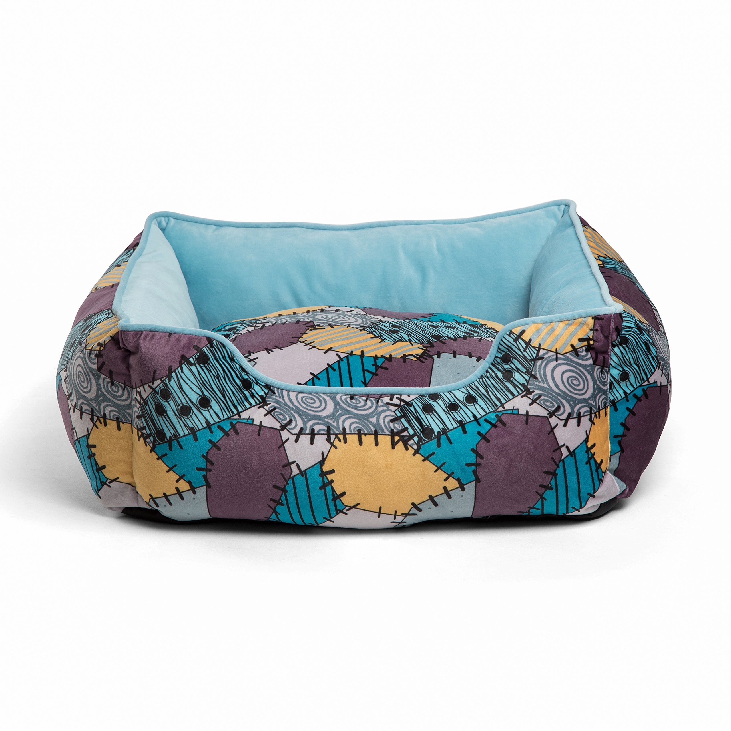 Disney Nightmare Before Christmas Sally Patchwork Bolstered Corded Rectangular Cuddler Dog Bed / Cat Bed; Reversible Insert, Dirt/Water Resistant Bottom, 21''X19''X8'' by Disney