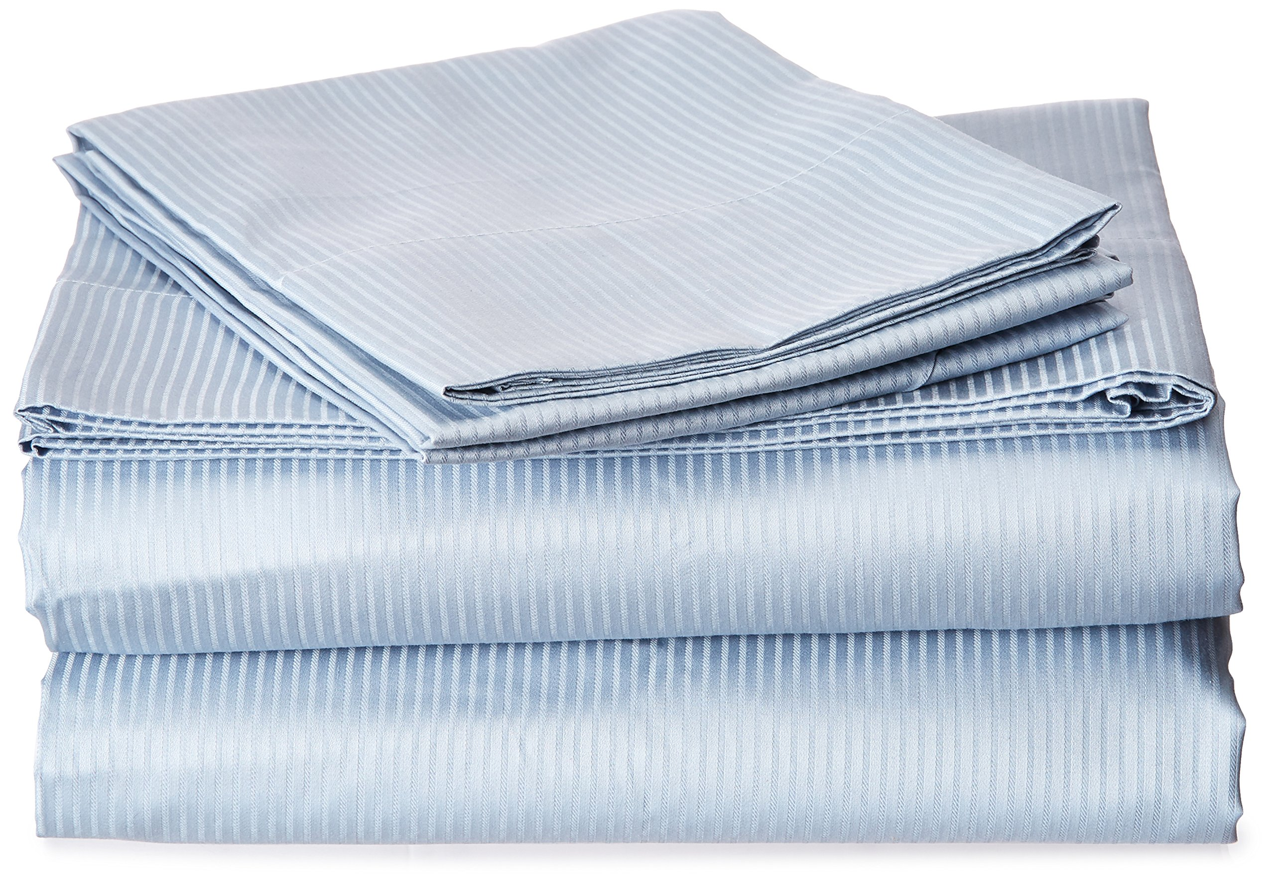 Natural Comfort Premier Hotel Select Sheet Set, Queen, Light Blue/Pinstripe