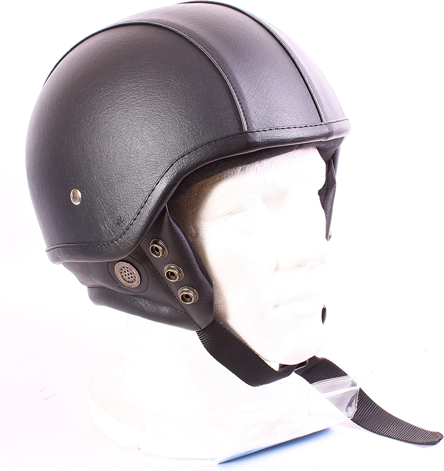 MOTORCYCLE HELMET ABS SHELL LEATHER COVERED OPEN FACE