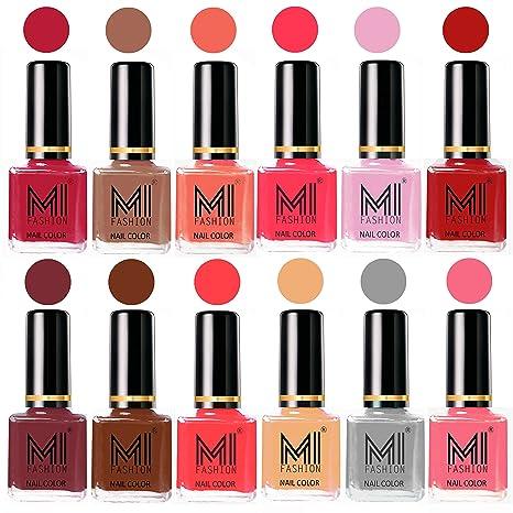 Mi Fashion 12 Pcs Color Nail Polish Shades-Magenta,Dark Nude,Peach ...