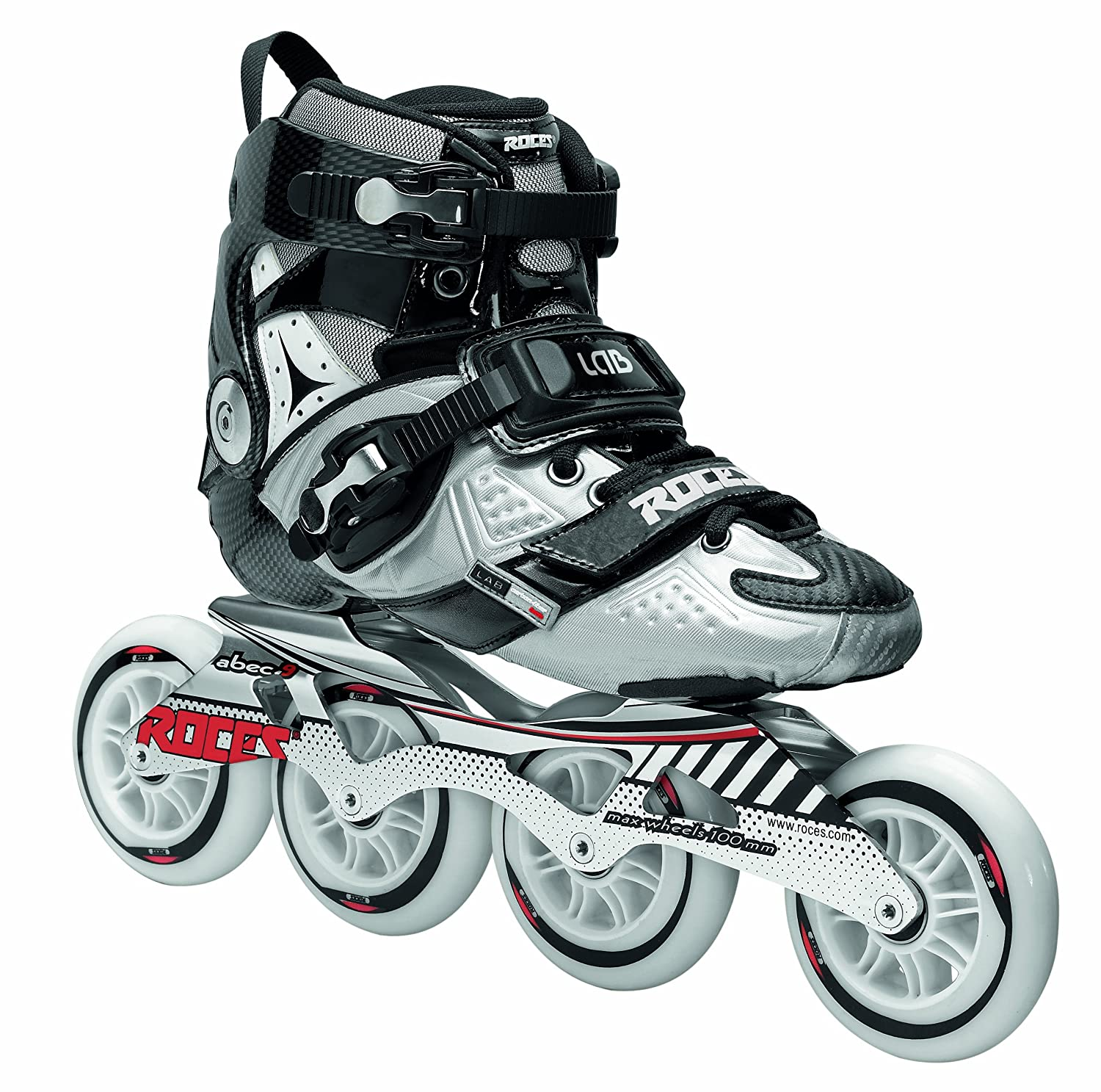 Roces Adult Mens LAB Fitness Inline Skates Blades Black/Silver