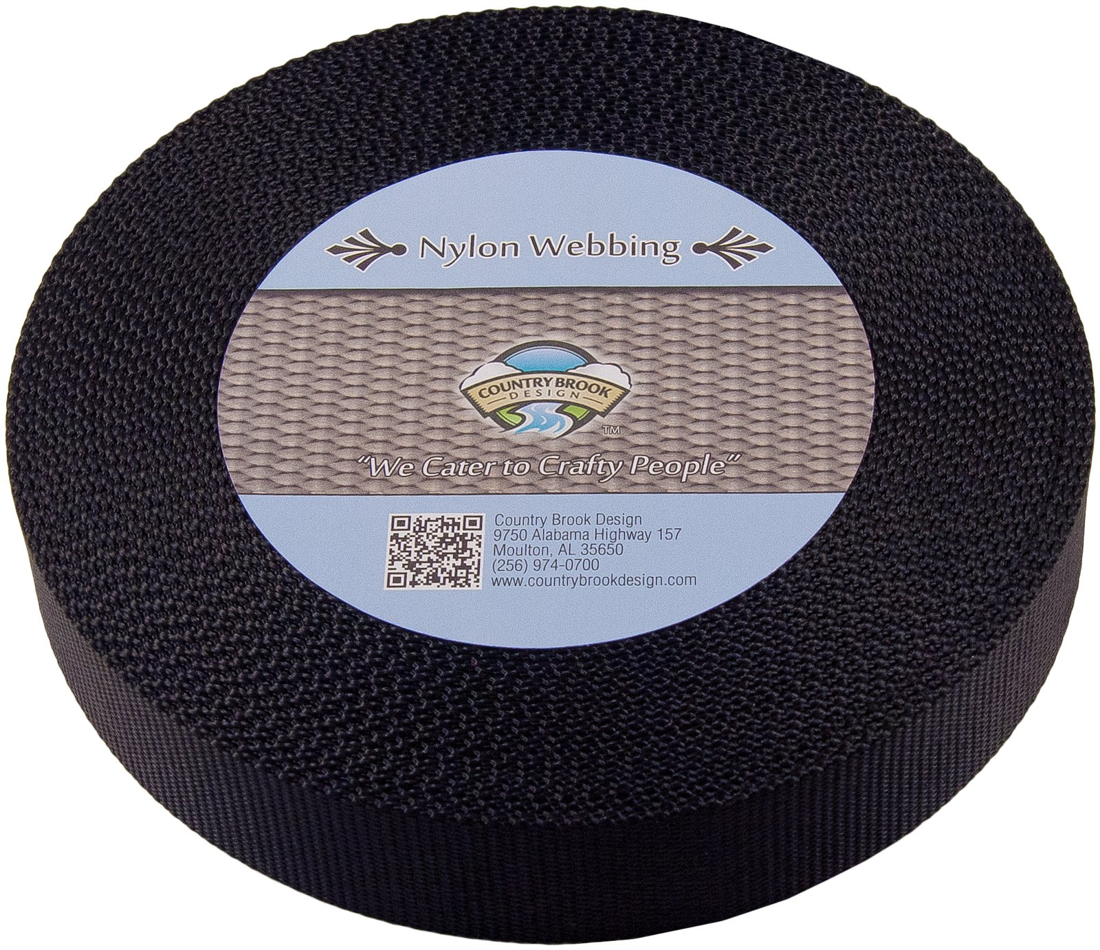 Country Brook Design | Heavy Nylon Webbing (Black, 20 Yards, 1 1/2 Inch)