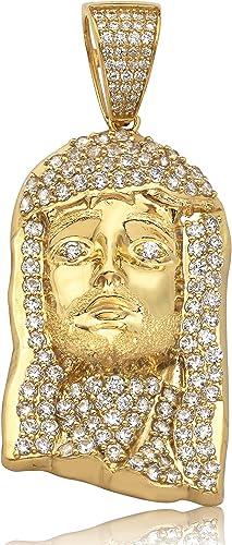 10K Solid Yellow Gold CZ Jesus Head Pendant Christ Face Necklace Charm Men Women