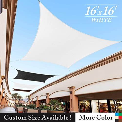 Royal Shade 16 x 16 White Square Sun Shade Sail Canopy Outdoor Patio Fabric Shelter Cloth Screen Awning – 95 UV Protection, 200 GSM, Heavy Duty, 5 Years Warranty, We Make Custom Size