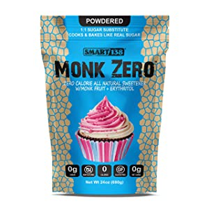 Monk Zero - Powdered Monk Fruit Sweetener, Non-Glycemic, Keto Approved, Zero Calories, 1:1 Confectioner Sugar Substitute (Powdered, 24oz)