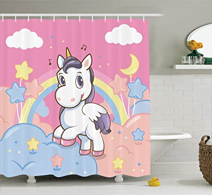 Ambesonne Girls Shower Curtain Set Kids Decor, Unicorn With Rainbow Music  Notes Clouds In The