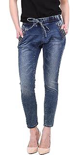 Toxik3 Jean Femme Baggy Denim Boyfriend Pantalon Sarouel Aladin Bleu Taille  du XS au XL 7cd7c730750d